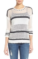 Women's Dex Graphic Stripe Print Open Stitch Sweater