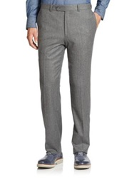 Saks Fifth Avenue Wool Flat Front Pants Light Grey