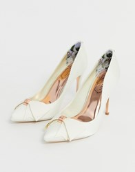 Ted Baker Ivory Satin Bow Detail Heeled Court Shoe White