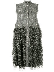 Huishan Zhang Tweed Feather Trimmed Dress Grey
