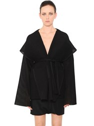 Rick Owens Hooded Striped Silk Tulle Cardigan
