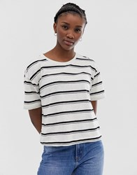 Weekday Stripes T Shirt In Off White And Black Cream