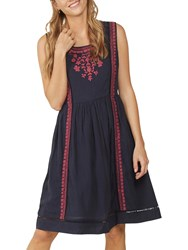 Fat Face Vanessa Embroidered Dress Navy