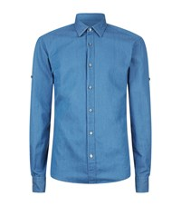 Boss Reid Slim Fit Chambray Shirt Blue