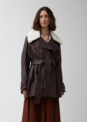Wales Bonner Leather Belted Peacoat With Shearling Collar Dark Brown