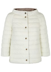 Herno White Reversible Cropped Quilted Jacket