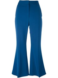 Stella Mccartney Cropped Flared Trousers Blue