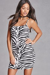 Forever 21 Motel Zebra Print Cami Dress Black White