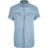 River Island Mensblue Western Short Sleeve Denim Shirt