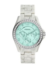Fossil Riley Crystal Accented White Horn Acetate Bracelet Watch