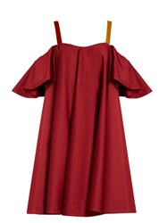 Anna October Cold Shoulder Ruffled Dress Dark Red