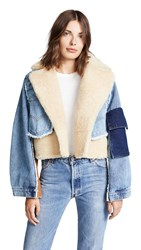 Natasha Zinko Denim Shearling Combo Crop Jacket Beige Light Wash