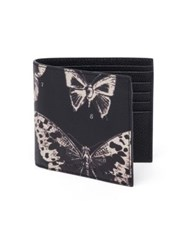 Alexander Mcqueen Moth Calfskin Leather Billfold Wallet Black White