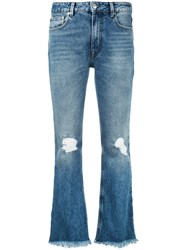 Msgm Flared Jeans Women Cotton Polyester 44 Blue