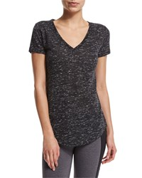 Alo Yoga Deep V Neck Short Sleeve Sport Tee Black Marble
