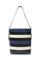 Diane Von Furstenberg Woman Striped Leather Bucket Bag Midnight Blue