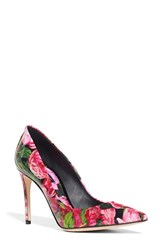 Dolce And Gabbana Women's Rose Print Pointy Toe Pump