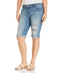 Lucky Brand Plus Ginger Distressed Denim Bermuda Shorts In Indian Hills
