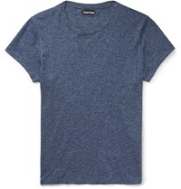 Tom Ford Slim Fit Marled Cotton Jersey T Shirt Blue