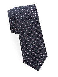 Saks Fifth Avenue Mixed Print Silk Tie Navy Pink