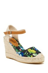 Bucco Flowery Round Toe Wedge Black