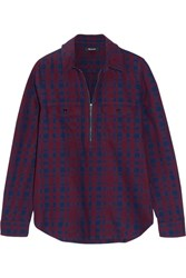 Madewell Plaid Cotton Flannel Shirt Burgundy
