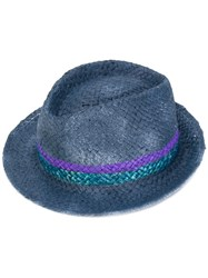 Le Chapeau Striped Panel Hat Blu V.2