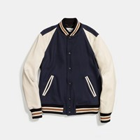 Coach Wool Leather Varsity Jacket Navy Chalk