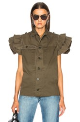 Icons Ruffle Field Top In Green