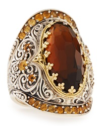 Konstantino Sterling Silver Cognac Quartz And Citrine Ring With 18 Karat Gold Women's