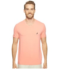 Nautica Short Sleeve V Neck Tee Pale Coral Men's Clothing Pink