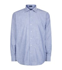 Peter Millar Striped Chambray Shirt Male Light Blue