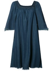 Nsf Flared Denim Dress Blue