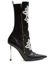 Alexander Mcqueen Embroidered Leather Ankle Boots Black White