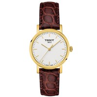 Tissot T1092103603100 Women's Everytime Leather Strap Watch Brown White