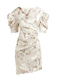 Preen By Thornton Bregazzi Greta Floral Print Puff Sleeve Satin Dress Ivory