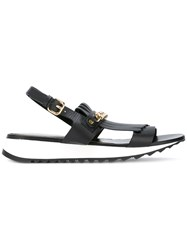Loriblu Fringed Chain Strap Sandals Black