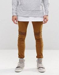 Asos Super Skinny Jeans With Biker Details In Brown Rubber Brown