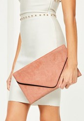 Missguided Nude Faux Suede Clutch Bag Peach