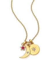 Elizabeth And James Nova Ruby And White Topaz Moon Star Multi Pendant Necklace Gold
