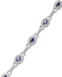 Macy's Sterling Silver Bracelet Sapphire 2 5 8 Ct. T.W. And Diamond 1 4 Ct. T.W. Oval Link Bracelet Blue