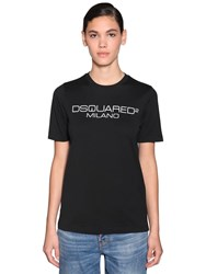 Dsquared Logo Printed Cotton Jersey T Shirt Black