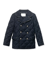Gucci Quilted Leather Trim Double Breasted Coat Navy Size 4 12