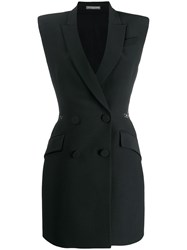 Alexander Mcqueen Double Breasted Slash Mini Dress Black