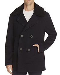 Vince Wool Blend Melton Pea Coat Navy
