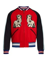 Gucci Spaniel And Tiger Applique Wool Bomber Jacket Red Multi