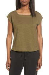 Eileen Fisher Women's Hemp And Organic Cotton Knit Crop Top Olive