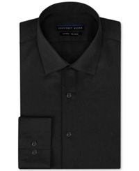 Geoffrey Beene Non Iron Fitted Stretch Sateen Solid Dress Shirt Black