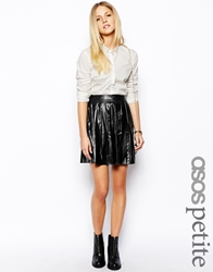 Asos Petite Exclusive Pleated Skater Skirt In Leather Look