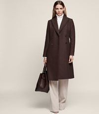 Reiss Niles Double Breasted Coat In Chocolate